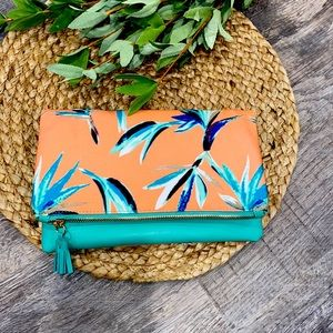 Rachel Pally coral and turquoise clutch NWOT